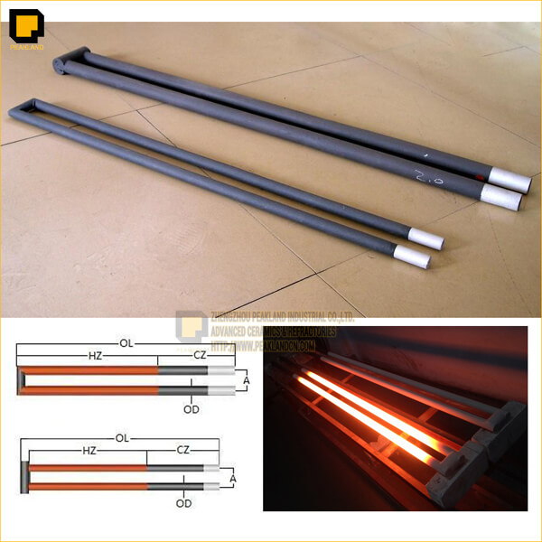 u type silicon carbide heating elements